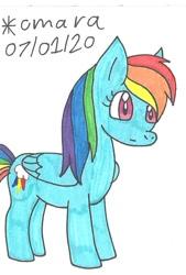 Size: 606x899 | Tagged: safe, artist:cmara, rainbow dash, pegasus, pony, female, mare, solo, surprised, traditional art