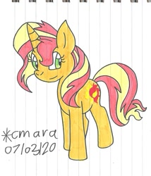 Size: 893x1043 | Tagged: safe, artist:cmara, sunset shimmer, pony, unicorn, cute, female, mare, shimmerbetes, solo, traditional art