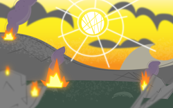 Size: 6400x4000 | Tagged: safe, artist:mycaro, my little pony: pony life, .ai available, .svg available, absurd resolution, apocalypse, background, cloud, day, destruction, fire, grass, mountain, no pony, pony life accurate, resource, ruins, show accurate, smoke, sun, vector