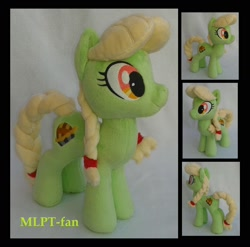 Size: 1864x1840 | Tagged: safe, artist:calusariac, fluttershy, granny smith, pony, irl, photo, plushie, solo, young granny smith, younger
