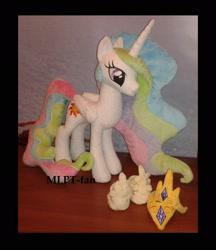 Size: 1912x2208 | Tagged: safe, artist:calusariac, princess celestia, alicorn, pony, crown, irl, jewelry, photo, plushie, regalia, solo