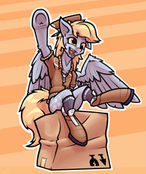 Size: 945x1122   Tagged: dead source, safe, artist:hc0, derpy hooves, pegasus, pony, semi-anthro, boots, box, clothes, cute, derpabetes, female, hat, mailmare, mailmare hat, mailmare uniform, open mouth, raised hoof, shirt, shoes, socks, solo, underhoof, waving