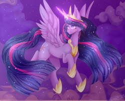 Size: 2481x1999   Tagged: safe, artist:keltonia, twilight sparkle, alicorn, pony, the last problem, crown, female, flying, glowing horn, hoof shoes, horn, jewelry, magic, mare, night, peytral, princess twilight 2.0, regalia, solo, twilight sparkle (alicorn)