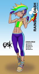 Size: 984x1860 | Tagged: safe, alternate version, artist:oldskullkid, rainbow dash, human, equestria girls, abs, alternate hairstyle, dark skin, hair over one eye