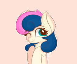 Size: 4479x3724 | Tagged: safe, artist:janelearts, bon bon, sweetie drops, earth pony, pony, adorabon, bust, chest fluff, cute, ear fluff, female, hnnng, looking at you, mare, one eye closed, pink background, portrait, simple background, solo, wink