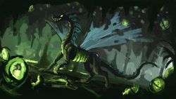 Size: 1920x1080 | Tagged: safe, artist:plainoasis, queen chrysalis, dragon, dragonified, solo, species swap