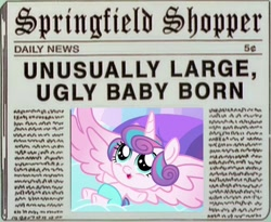 Size: 720x589 | Tagged: safe, artist:wrath-marionphauna, edit, edited screencap, screencap, princess flurry heart, alicorn, meme, newspaper, newspaper headline, op is a duck, op is trying to start shit, solo, spread wings, the simpsons, wings