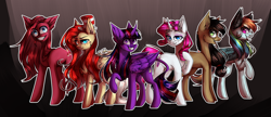 Size: 3000x1296 | Tagged: safe, artist:paintpalet35, twilight sparkle, alicorn, earth pony, pegasus, pony, unicorn, elements of insanity, corrupted, curved horn, female, horn, leonine tail, mare, twilight sparkle (alicorn)