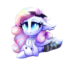 Size: 1996x1782 | Tagged: safe, artist:ravensunart, oc, oc only, oc:spectral prism, bat pony, pony, clothes, crossed hooves, cute, female, jewelry, leg warmers, lying down, mare, necklace, ocbetes, simple background, socks, solo, white background
