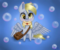 Size: 600x500 | Tagged: safe, artist:nastya-lazy-cat, derpy hooves, pegasus, pony, female, gradient background, letter, mare, mouth hold, solo