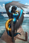 Size: 1900x2820 | Tagged: safe, artist:mykegreywolf, oc, oc:thunderblitz, anthro, pegasus, pony, unguligrade anthro, boat, canadian flag, clothes, commission, docks, female, food, life ring, looking at you, ocean, one-piece swimsuit, pier, popsicle, rule 63, smiling, solo, swimsuit, yacht