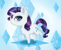 Size: 600x500 | Tagged: safe, artist:nastya-lazy-cat, rarity, pony, unicorn, chibi, cutie mark background, female, mare, solo