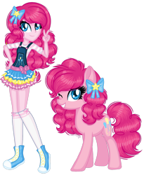 Size: 1280x1558 | Tagged: safe, artist:fantarianna, pinkie pie, earth pony, human, pony, equestria girls, bow, clothes, hair bow, human and pony, looking at you, one eye closed, peace sign, shoes, skirt, socks, wink, winking at you