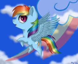 Size: 600x500 | Tagged: safe, artist:nastya-lazy-cat, rainbow dash, pegasus, pony, chibi, female, mare, solo