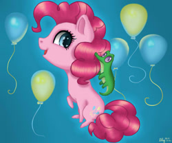 Size: 600x500 | Tagged: safe, artist:nastya-lazy-cat, pinkie pie, alligator, earth pony, pony, chibi, cutie mark background, female, mare