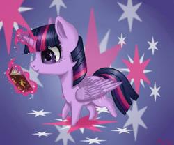 Size: 600x500 | Tagged: safe, artist:nastya-lazy-cat, twilight sparkle, alicorn, pony, book, chibi, cutie mark background, female, magic, mare, reading, solo, telekinesis, twilight sparkle (alicorn)