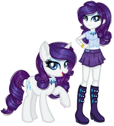Size: 1280x1419 | Tagged: safe, artist:fantarianna, rarity, pony, unicorn, equestria girls, boots, bracelet, clothes, female, hand on hip, high heel boots, high heels, human and pony, human ponidox, jewelry, looking at you, mare, necklace, self ponidox, shoes, simple background, skirt, transparent background