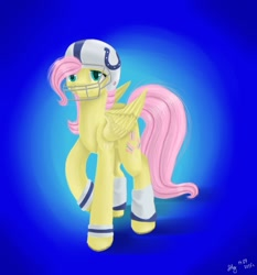 Size: 1024x1098 | Tagged: safe, artist:nastya-lazy-cat, fluttershy, pegasus, pony, american football, female, gradient background, helmet, mare, solo, sports