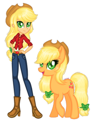 Size: 1280x1725 | Tagged: safe, artist:fantarianna, applejack, earth pony, pony, equestria girls, belt, boots, clothes, cowboy boots, cowboy hat, hands on hip, hat, high heel boots, high heels, human and pony, human ponidox, looking at you, pants, self ponidox, shoes, simple background, transparent background