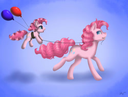 Size: 1580x1200 | Tagged: safe, artist:nastya-lazy-cat, pinkie pie, earth pony, pony, age progression, balloon, duality, female, filly, filly pinkie pie, gradient background, self ponidox, string, time paradox, younger