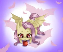 Size: 600x500 | Tagged: safe, artist:nastya-lazy-cat, fluttershy, bat pony, pony, apple, bat ponified, chibi, cute, cutie mark background, female, flutterbat, food, gradient background, race swap, shyabates, shyabetes