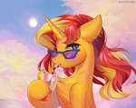 Size: 1135x900 | Tagged: safe, artist:margony, sunset shimmer, pony, unicorn, chest fluff, cute, drinking, drinking straw, ear fluff, female, mare, neck fluff, shimmerbetes, solo, speedpaint, sun, sunglasses
