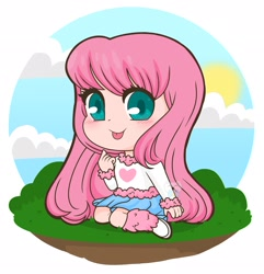 Size: 1975x2048 | Tagged: safe, artist:kittyrosie, oc, oc only, oc:fluffle puff, human, equestria girls, :p, blushing, colored pupils, cute, equestria girls-ified, female, flufflebetes, humanized oc, looking at you, sitting, solo, tongue out