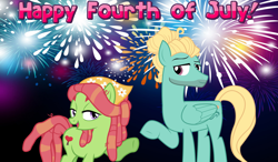 Size: 2064x1204 | Tagged: safe, tree hugger, zephyr breeze, earth pony, pegasus, 4th of july, bandana, female, fireworks, friendship, hair bun, hippie, hipster, holiday, looking at each other, male, night, shipping, straight, zephyrhugger