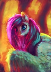 Size: 2560x3625 | Tagged: safe, artist:terrafomer, part of a set, fluttershy, pegasus, pony, bust, female, high res, looking at you, mare, portrait, smiling, solo, spread wings, wings