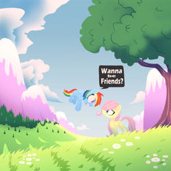 Size: 3500x3500 | Tagged: safe, artist:jimmyjamno1, fluttershy, rainbow dash, pegasus, pony, cloud, cute, daisy (flower), dashabetes, dialogue, duo, duo female, featured image, female, field, filly, filly fluttershy, filly rainbow dash, flight, flower, flying, foal, folded wings, grass, looking at each other, mountain, open mouth, outdoors, scenery, shyabetes, snowy mountain, speech bubble, spread wings, standing, sweet dreams fuel, talking, tree, wings, young, younger
