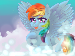 Size: 1400x1050   Tagged: safe, artist:twilightwolf91, rainbow dash, pegasus, pony, cloud, cute, dashabetes, female, hoof on chest, looking at you, mare, open mouth, prone, signature, solo, spread wings, wings