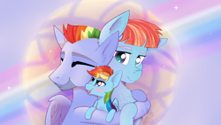 Size: 1920x1080 | Tagged: safe, artist:twilightwolf91, bow hothoof, rainbow dash, windy whistles, pegasus, pony, abstract background, cute, dashabetes, family, father and child, father and daughter, female, filly, filly rainbow dash, group hug, hug, male, mother and child, mother and daughter, parents and child, signature, younger