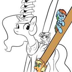 Size: 1024x1024 | Tagged: safe, artist:ashtoneer, artist:jargon scott, artist:tjpones, edit, applejack, princess celestia, rainbow dash, twilight sparkle, alicorn, earth pony, pegasus, pony, unicorn, applejack's hat, black and white, bust, confused, cowboy hat, cute, dialogue, doug dimmadome, duo, female, filly, frown, giant hat, giddy up, grayscale, hat, holding on, hug, impossibly large hat, impossibly many hats, jackabetes, lineart, looking down, mare, meme, monochrome, no pupils, open mouth, ponies riding ponies, reins, riding, role reversal, simple background, smiling, smol, stetson, ten gallon hat, text, twiggie, twilight sparkle (alicorn), wat, weh, white background, yeehaw