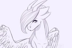 Size: 1080x720 | Tagged: safe, artist:chrystal_company, oc, oc only, alicorn, bicorn, pony, alicorn oc, horn, lineart, monochrome, multiple horns, simple background, solo, white background, wings