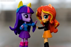 Size: 1024x681 | Tagged: safe, artist:artofmagicpoland, sunset shimmer, twilight sparkle, alicorn, equestria girls, dancing, doll, equestria girls minis, photo, toy, twilight sparkle (alicorn)