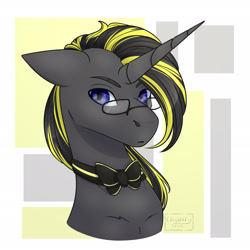Size: 1080x1080 | Tagged: safe, artist:chrystal_company, oc, oc only, pony, unicorn, abstract background, bowtie, bust, glasses, horn, solo, unicorn oc