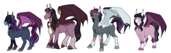 Size: 9186x2865 | Tagged: safe, artist:blackblood-queen, oc, oc only, oc:indigo rose, oc:lilac wisp, oc:orpheus, bat pony, pony, bat pony oc, bat wings, digital art, fangs, female, lipstick, male, redesign, scar, slit eyes, smiling, stallion, unshorn fetlocks, wings
