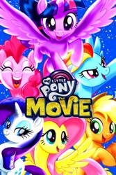 Size: 268x402 | Tagged: safe, applejack, fluttershy, pinkie pie, rainbow dash, rarity, twilight sparkle, alicorn, my little pony: the movie, eyes closed, my little pony logo, poster, spread wings, twilight sparkle (alicorn), wings