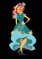 Size: 1280x1793 | Tagged: safe, artist:rlynn-art, artist:sketchysketchiness, sunset shimmer, equestria girls, legend of everfree, black background, boots, clothes, crystal gala dress, deviantart watermark, dress, eyes closed, flower, flower in hair, hand on hip, obtrusive watermark, shoes, simple background, solo, watermark