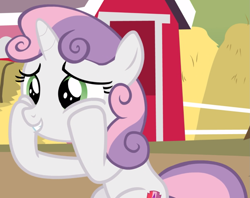 Size: 1183x936 | Tagged: safe, screencap, sweetie belle, hard to say anything, cheek squish, cropped, cute, diasweetes, hooves on cheeks, sitting, smiling, solo, squishy cheeks