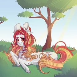 Size: 1080x1080 | Tagged: safe, artist:fotiles_art, oc, oc only, pegasus, pony, chest fluff, ear fluff, jewelry, necklace, outdoors, pegasus oc, smiling, solo, tree, wings