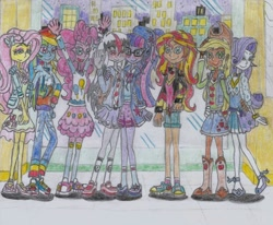 Size: 1771x1462 | Tagged: safe, artist:nephilim rider, applejack, fluttershy, pinkie pie, rainbow dash, rarity, sci-twi, sunset shimmer, twilight sparkle, oc, oc:heaven lost, equestria girls, traditional art