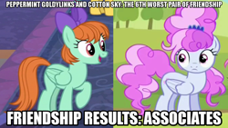 Size: 1280x720 | Tagged: safe, edit, edited screencap, editor:jaredking203, screencap, cotton sky, peppermint goldylinks, pegasus, pony, brotherhooves social, school daze, bow, caption, female, friendship student, image macro, mare, text