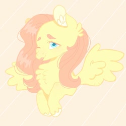 Size: 1080x1080   Tagged: safe, artist:halomalwina, fluttershy, pegasus, pony, :p, bust, chest fluff, ear fluff, one eye closed, solo, tongue out, unshorn fetlocks, wink