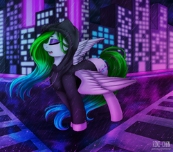 Size: 3000x2625 | Tagged: safe, artist:rinikka, oc, oc only, oc:aurora wing, pegasus, pony, building, clothes, commission, eyes closed, eyeshadow, female, hoodie, makeup, mare, rain, spread wings, street, wings