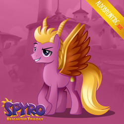 Size: 3500x3500   Tagged: safe, artist:aldobronyjdc, pegasus, pony, base used, cutie mark, digital art, fire, logo, looking away, male, ponified, simple background, smiling, solo, spyro the dragon, standing, video game, video game character