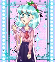 Size: 862x980 | Tagged: safe, artist:your.millye, coco pommel, human, :o, abstract background, bag, clothes, female, flower, flower in hair, humanized, open mouth, skirt, solo