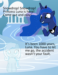 Size: 1080x1389 | Tagged: safe, princess luna, oc, oc:snowdrop, ghost, undead, cloud, cloudsdale, depressing, implied death, meme, sad, smiling, the crash wasn't your fault