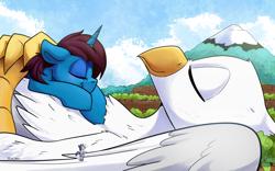 Size: 5000x3129 | Tagged: safe, artist:tsitra360, oc, oc:altus bastion, oc:der, oc:verlo streams, griffon, pony, unicorn, blushing, cloud, commission, giant griffon, giant pony, giant unicorn, griffon oc, laying on ground, laying on stomach, macro, mountain, on back, size difference, sleeping, snow
