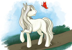 Size: 2669x1858 | Tagged: safe, artist:alexandradane, oc, oc only, butterfly, earth pony, pony, commission, digital art, female, grass, mare, solo, tail, ych result